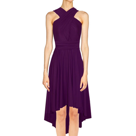 Infinity bridesmaid dress High low convertible prom gown Plum twist wrap dress for evening & formal occasions XS-5XL