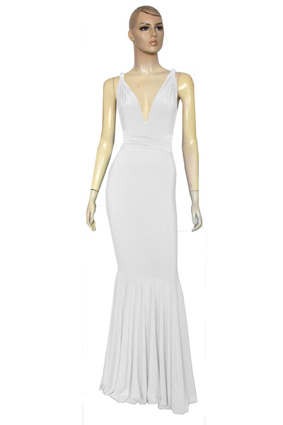 Mermaid wedding dress White infinity dress Long bridal gown Convertible fish tail dress  XS-5XL