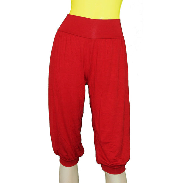 Red capri yoga pants Sport ballet wear Jersey sexy under the knee pants