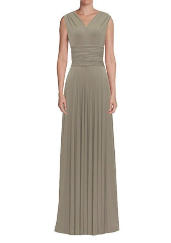 Long infinity bridesmaid dress Taupe convertible gown for prom, evening or formal occasions XS-5XL