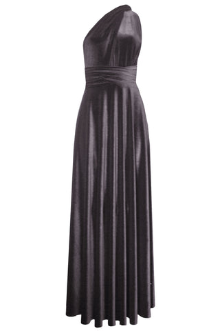 Multi way velvet dress Infinity bridesmaids gown Gray convertible dress Long plus size prom gown  Maternity dress