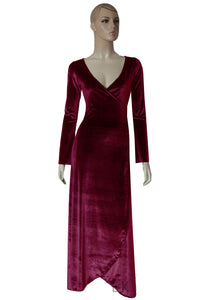 Burgundy Velvet Wrap Dress Convertible Bridesmaid Gown Long Sleeve Prom Dress Plus Size Evening Gown