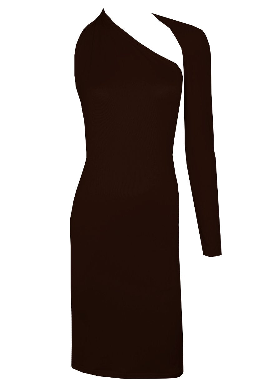 Dark brown backless dress One shoulder long sleeved boodycon