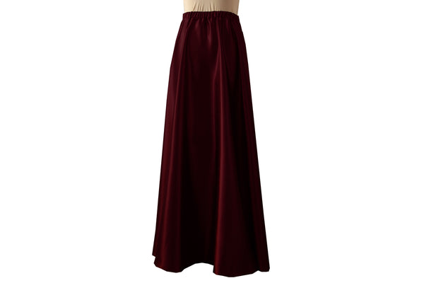 Long wine satin skirt Bridesmaids prom formal & evening burgundy maxi skirt XS-L