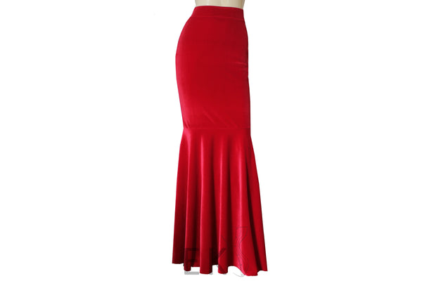 Velvet Mermaid Skirt Red Prom Skirt Bridesmaids Separates Fit & Flare Formal Skirt Evening Outfit