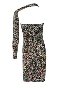 Leopard print backless dress One shoulder long sleeved boodycon