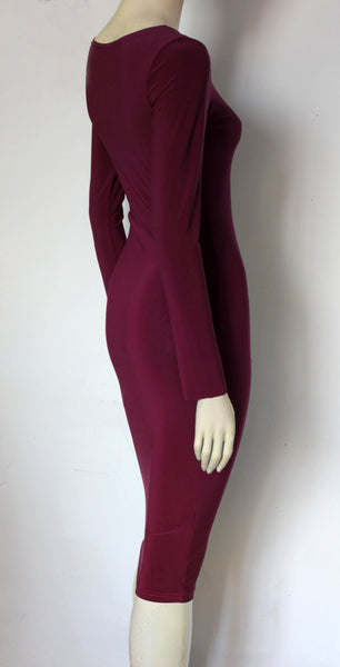Burgundy Pencil Dress Long Sleeve Wiggle Dress Wine Hobble Dress Plus Size Basic Bodycon