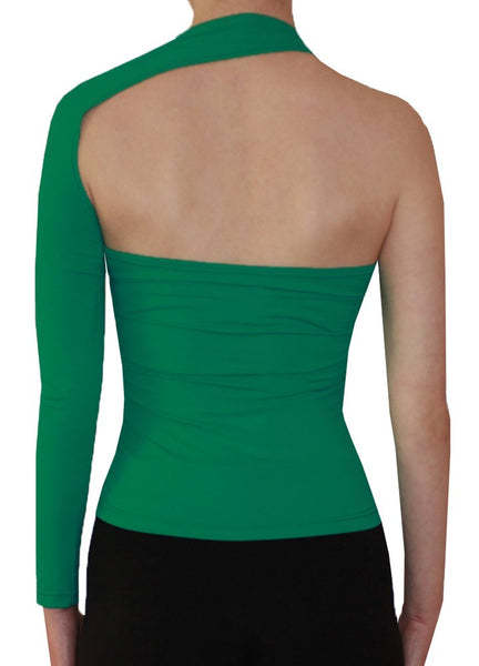 Green backless top with one long sleeve