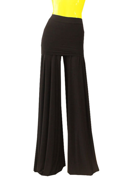 Wide leg jumpsuit Fold over belt jersey pants Strapless asjustable 3 in 1 pants