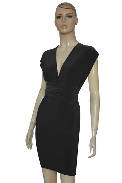Black Pencil Dress Bridesmaids Short Dress Multi Way Dress Convertible Gown Sexy Plus Size Outfit XS-5XL