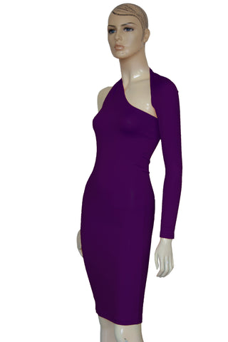 Long Sleeve Pencil Dress Plum One Shoulder Bodycon Backless Casual Dress
