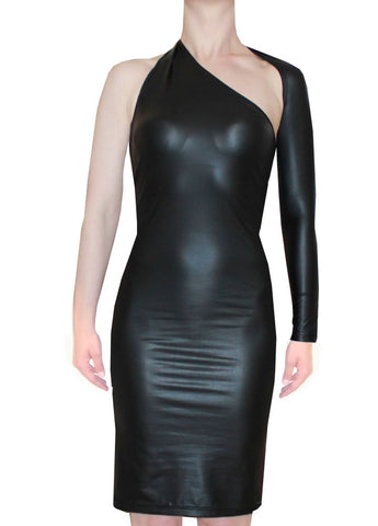 Backless leather look dress Black long sleeved one shoulder bodycon