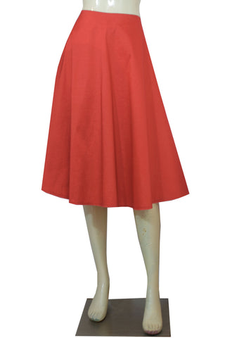 Coral taffeta skirt in tea length for bridesmaids prom formal or evening occasions XS-4XL