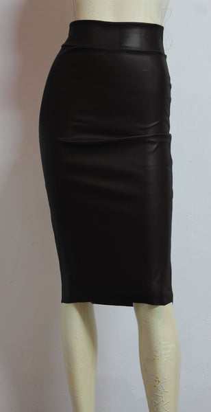 Black Leather Pencil Skirt Hobble Midi Skirt High Waist Bodycon Skirt Plus Size Tube Skirt