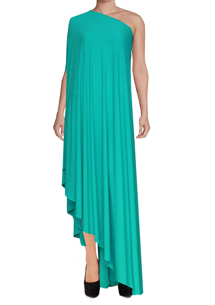 Mint green one shoulder dress Asymmetric hem high long formal sexy prom dress XS-5XL