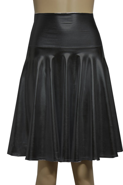 Faux Leather Skirt Black Skater Skirt Gothic Clothing Fold Over Short Skirt Rave Festival Bottoms