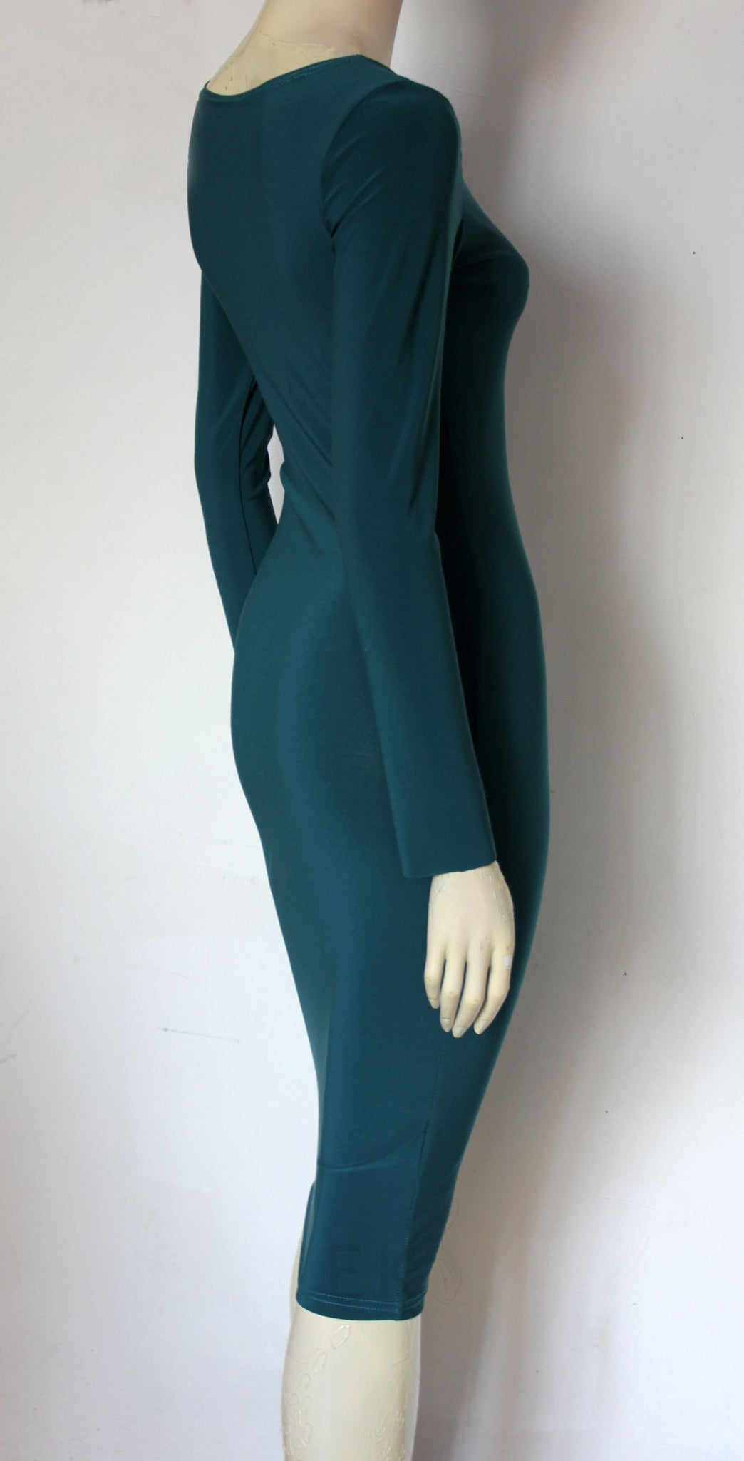 Teal Wiggle Dress Pencil Jersey Dress Long Sleeve Plus Size Dress Stretchy Hobble Dress