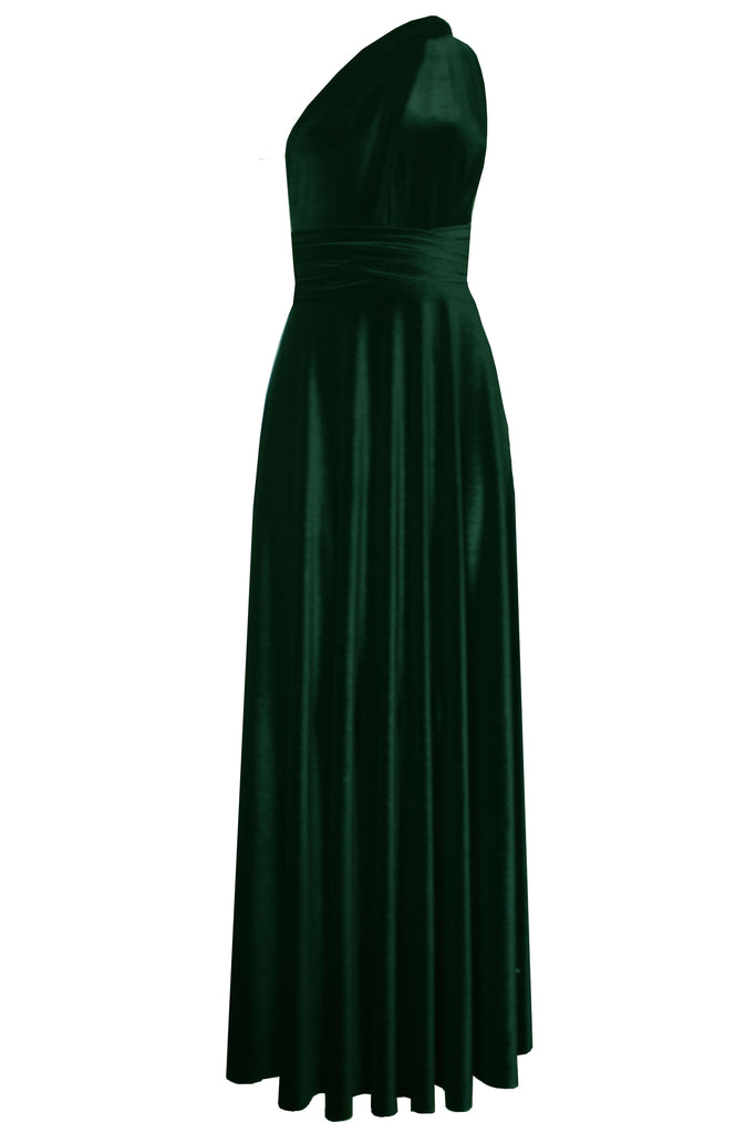 Green Velvet Dress Bridesmaids Infinity Gown Plus Size Prom Gown ...