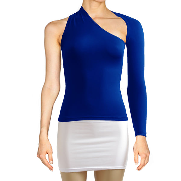 Royal blue backless top One shoulder shirt Long sleeve sexy top Festival shirt Rave party top