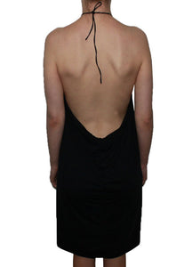 Black backless dress Halter open back formal dress Low back short dress