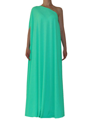 Mint green one shoulder dress Long formal gown Sexy prom dress XS-5XL