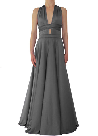 Maxi convertible dress Grey twist wrap gown for prom, bridesmaids or evening occasions XS-5XL