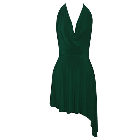 Backless Dress Dark Green Cowl Neckline Sexy Short Dress Open Back Halter Party Dress