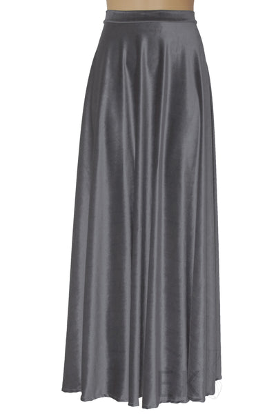 Gray velvet skirt Long plus size skirt Maxi formal skirt A-line bridesmaids separates Prom skirt XS-5XL