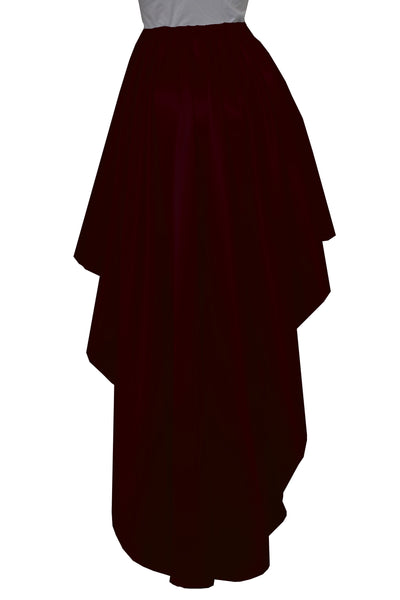 Wine satin skirt High low bridesmaids skirt Burgundy plus size prom formal mullet skirt XS-5XL
