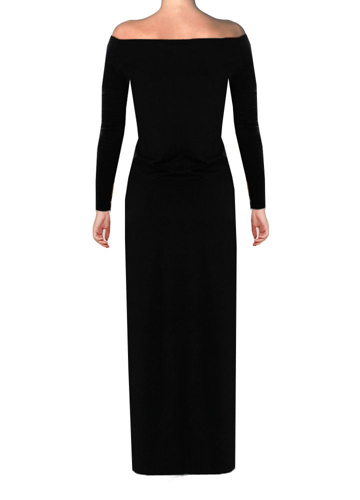 Off the shoulders maxi dress Black long sleeved evening & formal gown