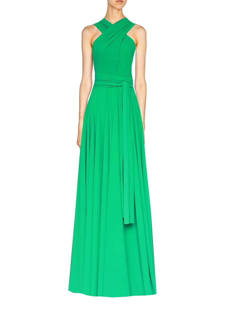 Long infinity dress Green convertible gown for prom, bridesmaids or evening occasions XS-5XL
