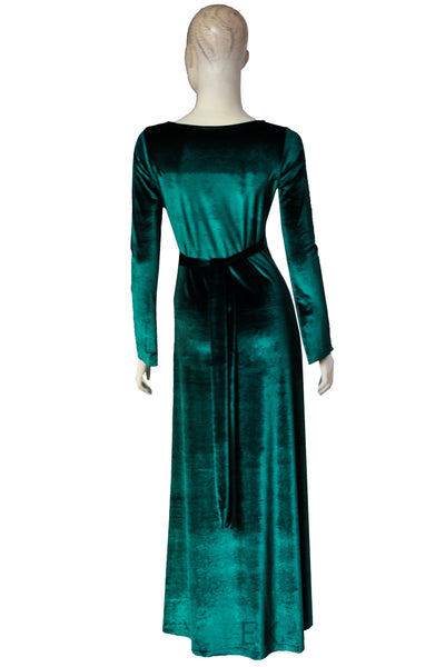 Wrap velvet dress Green Convertible Bridesmaids Gown Long Sleeve Evening Dress Plus Size Prom Gown