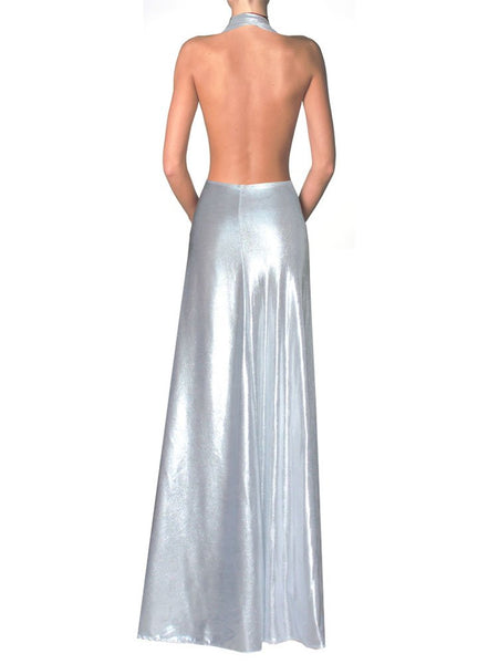 Backless silver dress Long formal evening gown Maxi wedding prom dress