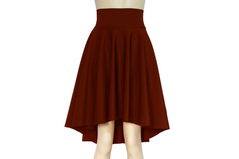 High Low Circle Skirt Burnt Orange High Waist Skirt Plus Size Flare Bottoms Water Resistant Neoprene Clothing Skater Skirt Urban Outfit
