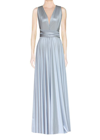 Long infinity bridesmaid dress Silver convertible gown for prom, evening or formal occasions XS-5XL