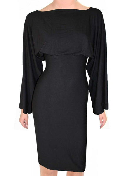 Pencil black dress Jersey kimono sleeved casual dress