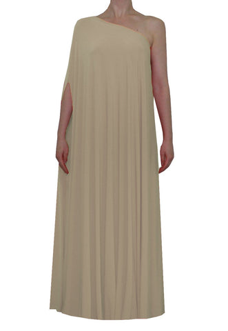 Beige one shoulder dress Long formal gown Sexy prom dress XS-5XL