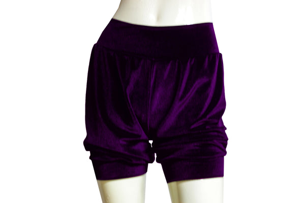 Velvet shorts Plum bloomers Dance shorts Festival bottoms Rave party shorts
