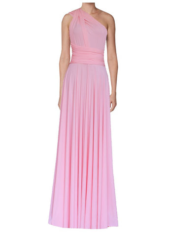 Long infinity bridesmaid dress Light pink convertible gown for prom, evening or formal occasions XS-5XL