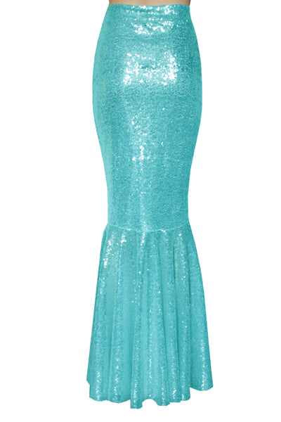 Turquoise Sequin Skirt Mermaid Bridesmaid Skirt Maxi Prom Skirt Fish Tail Plus Size Metallic Bottoms Formal Skirt XS-5XL