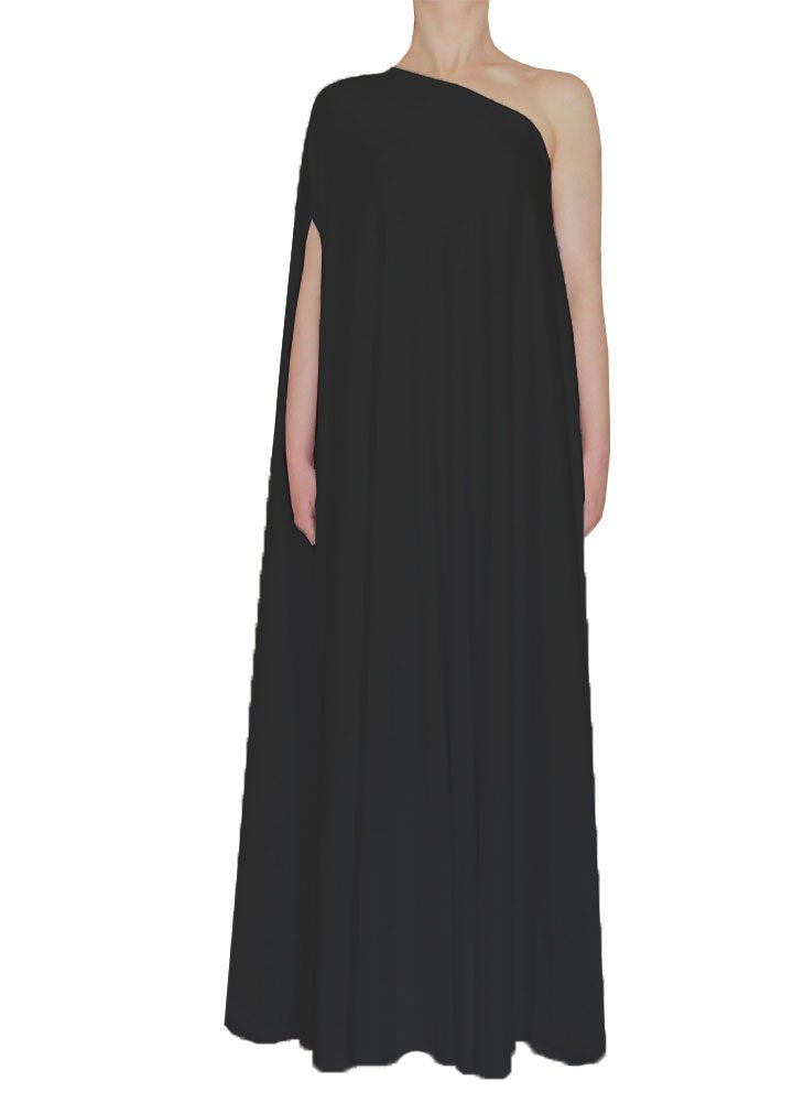 Black one shoulder dress Long formal gown Sexy prom dress XS-5XL