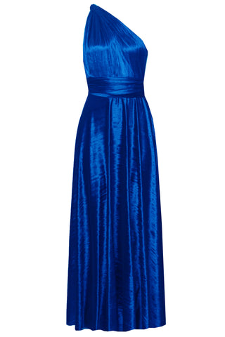 Crushed Velvet Infinity Dress Blue Maxi Gown Bridesmaids Multiway Dress Convertible Prom Dress Maternity Outfit