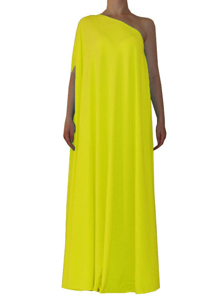 Yellow one shoulder dress Long formal gown Sexy prom dress XS-5XL