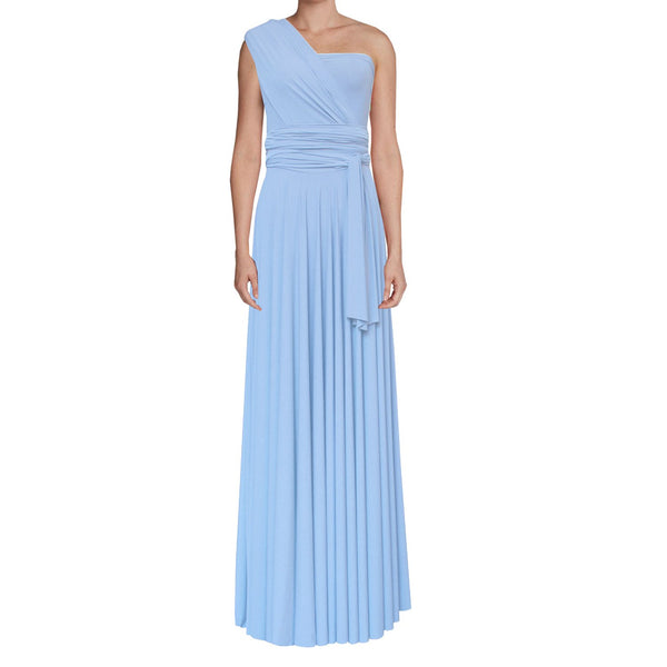 Long convertible bridesmaids dress Baby blue infinity gown for prom, weddings or formal occasions XS-5XL