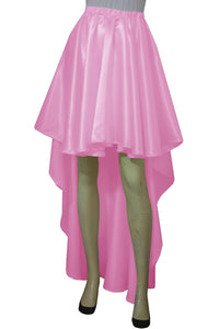 Pink satin skirt High low bridesmaids skirt Plus size prom formal mullet skirt XS-5XL