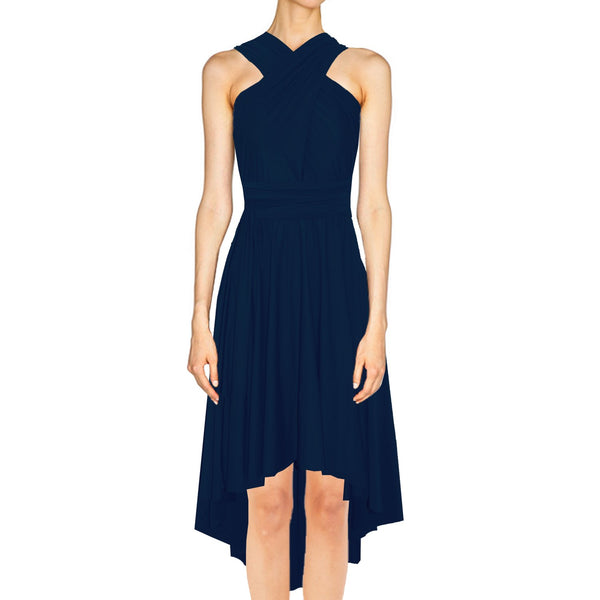 Infinity bridesmaid dress High low convertible prom gown Navy blue twist wrap dress for evening & formal occasions XS-5XL