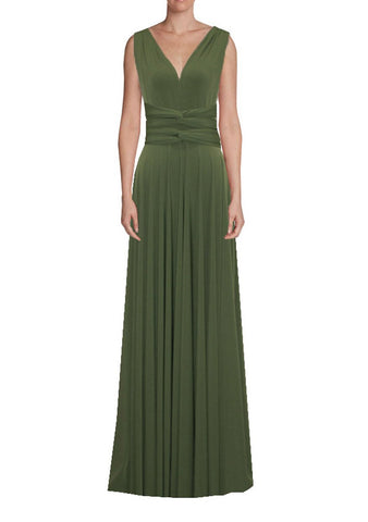 Long infinity bridesmaid dress Olive green convertible gown for prom, evening or formal occasions