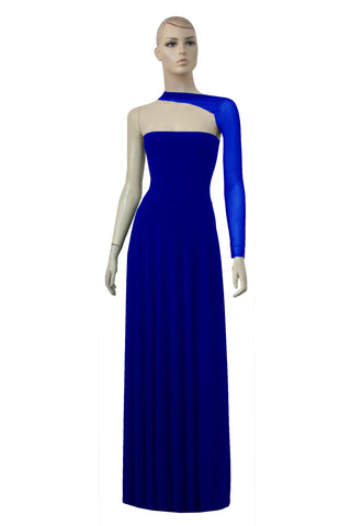 One shoulder formal dress Sheer maxi gown Long sleeve royal blue outfit See through mesh back evening gown
