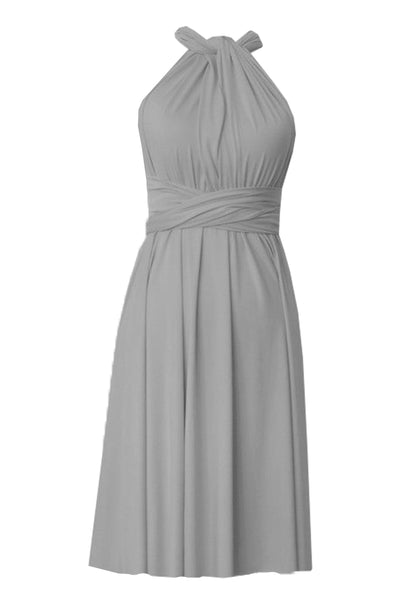 Infinity bridesmaids dress Light gray convertible knee length dress Plus size prom evening formal dress XS S M L XL 0XL 1XL 2XL 3XL 4XL 5XL