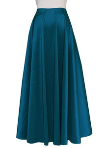 Teal taffeta skirt in maxi length for wedding formal or evening occasions XS-3XL